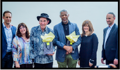 Freedom Seder, 15 April 2019. From left, Marc Pozniak, Prof Karen Milner, Judge Albie Sachs, Mvuso Msimang, Wendy Kahn, Shaun Zagnoev