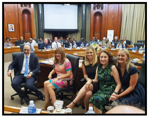 Meeting convened for President Ramaphosa to engage with religious leaders ahead of the State of the Nation Address, Union Buildings, 5 February 2020. From left: Chief Rabbi Dr Warren Goldstein, Wendy Kahn, Danny Mofsowitz, Reeva Forman, Sheri Hanson.