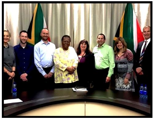 Meeting with Minister of International Relations & Cooperation Dr Naledi Pandor, 20 August 2019: l-r, Mary Kluk, Rowan Polovin (SAZF), Shaun Zagnoev, Minister Pandor, Prof Karen Milner, Wendy Kahn, David Kuming.