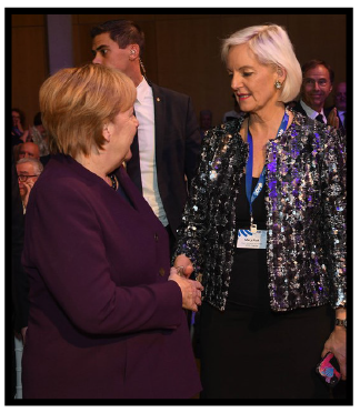 Mary Kluk with Angela Merkel, Chancellor of the Federal Republic of Germany, at a World Jewish Congress event in honour of Chancellor Merkel, 28 October 2019.