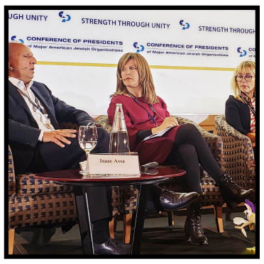 'Confronting Global Antisemitism' panel discussion, Conference of Presidents of Major American Jewish Organizations annual leadership summit, Jerusalem, February 2020: Wendy Kahn (centre).
