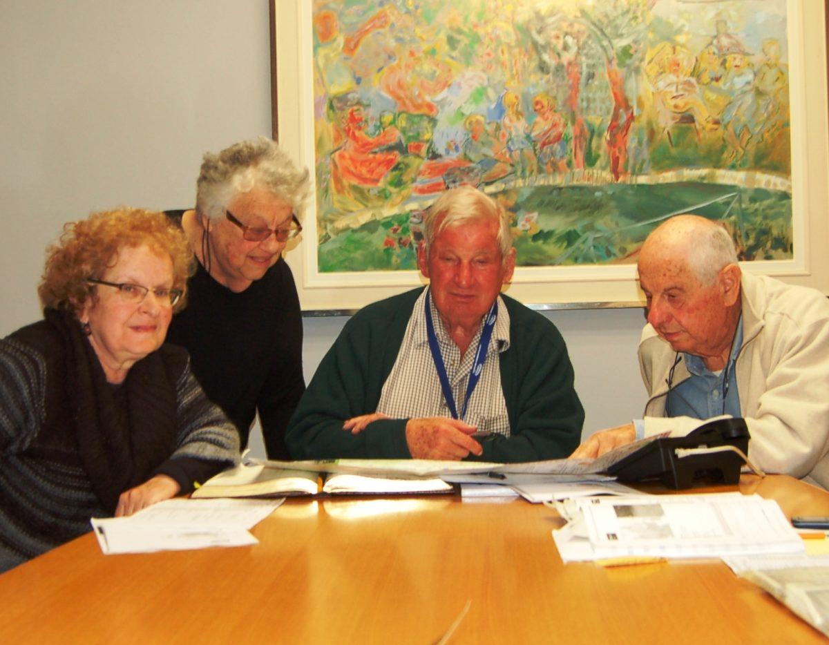 Veronica Belling (left), with Glenda Levitt, Ben Rabinowitz and Abel Levitt