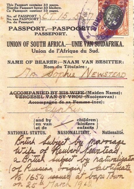 Sophia Newstead passport, 1962