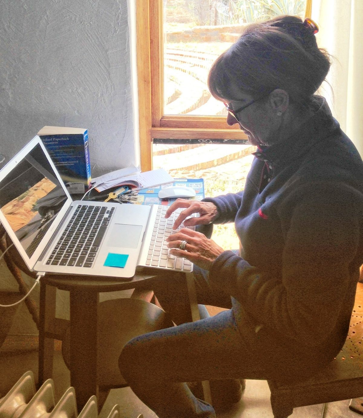 Jennifer Friedman working on 'The Messiah's Dream Machine' while staying at the Van der Post Writer's Retreat, Philippolis (Free State)