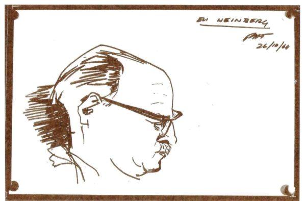 Eli Weinberg in the Johannesburg Fort – sketch by fellow prisoner Paul Trewhela, 26 October 1964