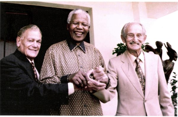 Nelson Mandela with former employer Lazar Sidelsky (right) and former fellow articled clerk and friend Nat Bregman, circa. 1994